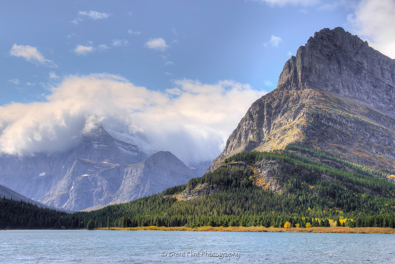 DF.4073 - view in Autumn from Swiftcurrent Lake with Mt. Gould and Mt. Grinnell, Glacier National Park, MT.