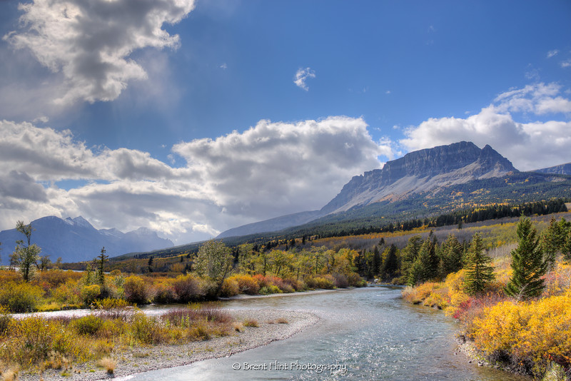 DF.4083 - Singleshot Mountain and St. Mary River in Autumn, Glacier National Park, MT.