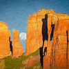 Moon Twixt Spires on Canvas