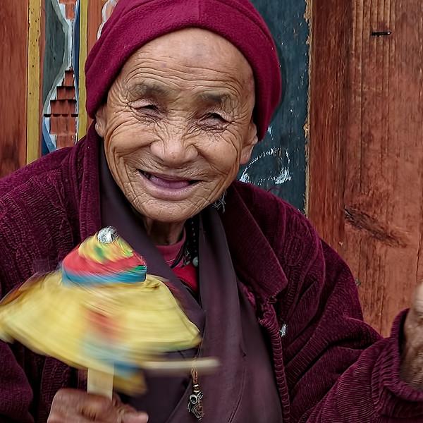 Woman in Burgundy - Bhutan