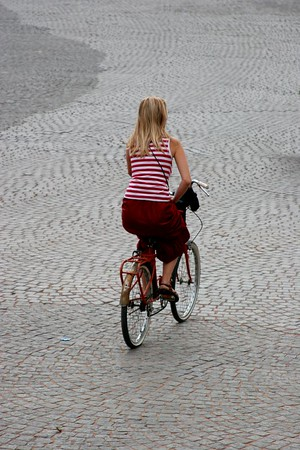 Riding the cobblestones of the Champs d'Elysee.