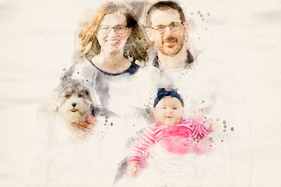 Brackon Katie Amelia Oscar Watercolor