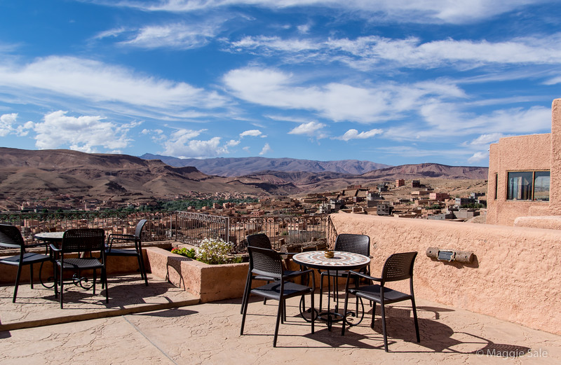 View from our rooftop terrace at hotel in Boumalne Dades, overlooking the town and valley.