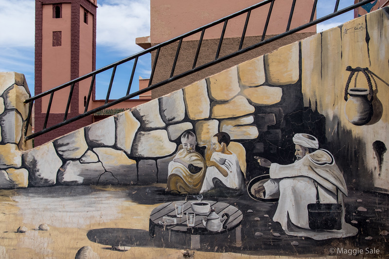 Mural in town centre at Boumalne Dades.