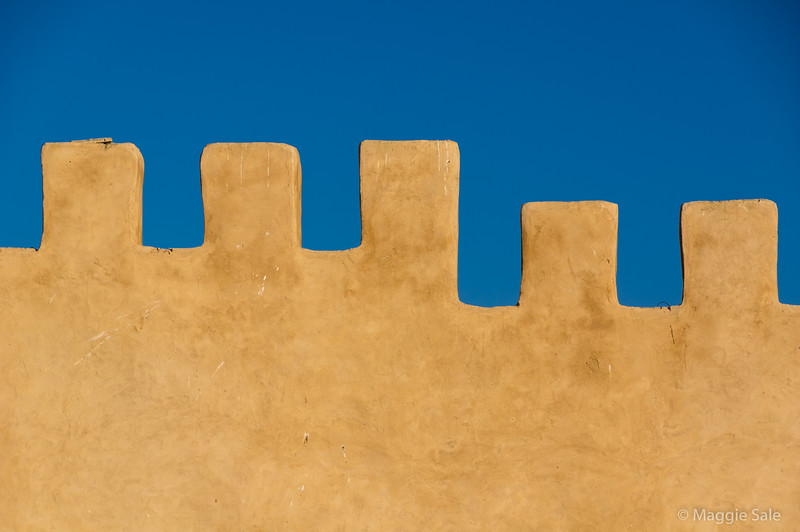 Old wall castellations in Essaouira.