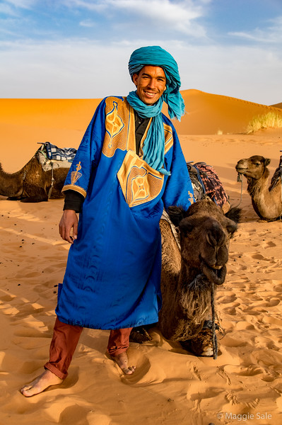 Our camel leader on the evening camel ride.