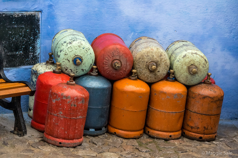 """Gas cylinders in Chefchaouen, the """"Blue Town""""."""