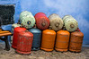 "Gas cylinders in Chefchaouen, the ""Blue Town""."
