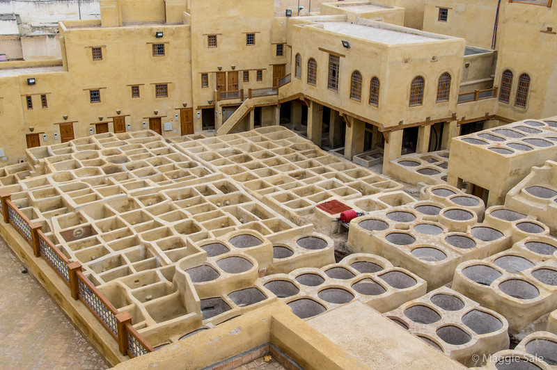 The famous Tannery at Fez is a UNESCO World Heritage site that has been under renovation for the past year. It hasn't been repaired since it was built centuries ago. It is now complete and was awaiting the King of Morocco's visit to reopen the site, the week after our visit. A unique photo op, even though I was hoping to see it in use!