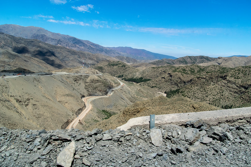 One of the mountain passes in the High Atlas, where extensive road works were being done.