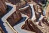 The hairpin bends of the road to the top of the Dades Gorge. Note the washout lower down - traffic still passing by!