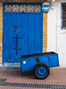 Blue carts used to transport good around the Medina - remember OMO washing powder?