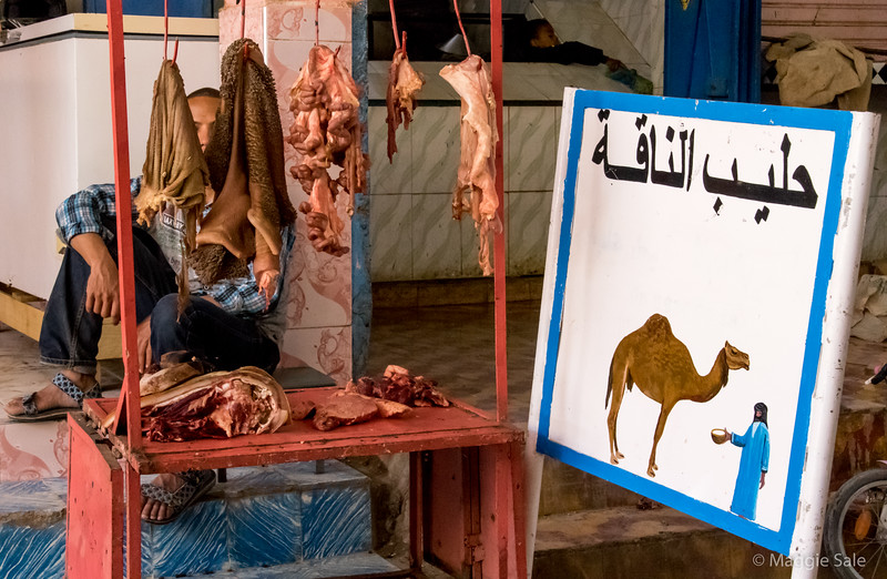 Camel meat for sale at the souk in Rissani.