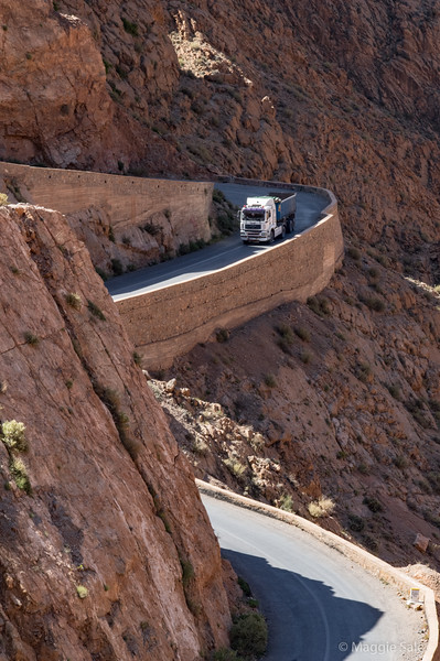 Truck beginning descent in Dades Gorge.