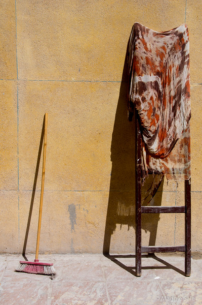 Ladder and broom in Essaouira medina.