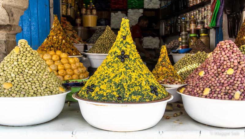 Food pyramids in Essaouira souk.
