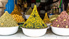 Food pyramids in Essaouira souk.
