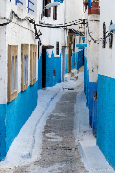 Blue and white streets of the old walled town of Rabat.