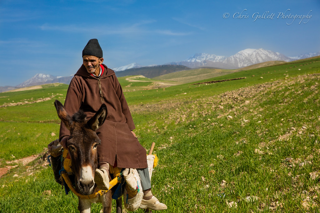 The Middle of nowhere in the high Atlas Mountains.  This traveling local and his donkey were amazing to see plodding across the mountains with his eyes fixed on the opposite horizon.  Where did he come from? There is literally nothing behind him...