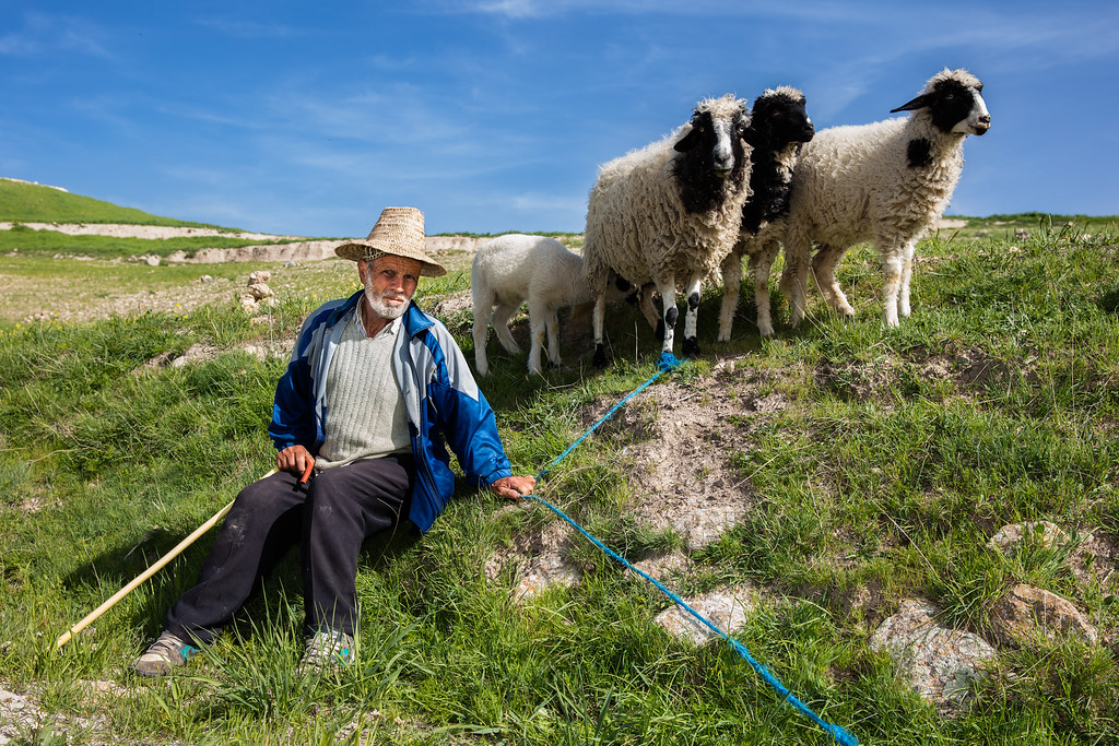 A shepherd in the high Atlas mountains.  They say people look like their pets; this man and his sheep are giving me the same distrustful glare...