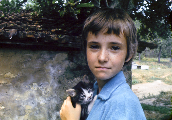 Paula, with stray Greek kitten.