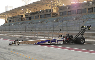 Top Fuel Wrap.  Barry Sheavills at Bahrain   ( Photo Coutesy of Motorsport Marketing Solutions )