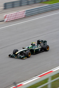 Heikki Kovaleinen passing the grandstand during 3rd practice session