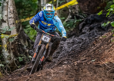 Wyn Masters (NZL) racing to a third place finish in the Men's Open Class Downhill Final of the US Open of MTB Downhill held in Killington, Vermont. August 4, 2018. He ended up 15 seconds off the pace with a winning time of 5 min 9.6 sec.