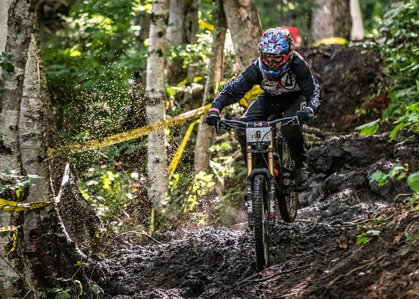 Steve Estabrook (USA) racing in the Men's Open Class Downhill Final of the US Open of MTB Downhill held in Killington, Vermont. August 4, 2018.