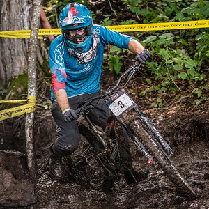 racing in the first US Open of MTB Downhill held at Killington. August 4, 2018