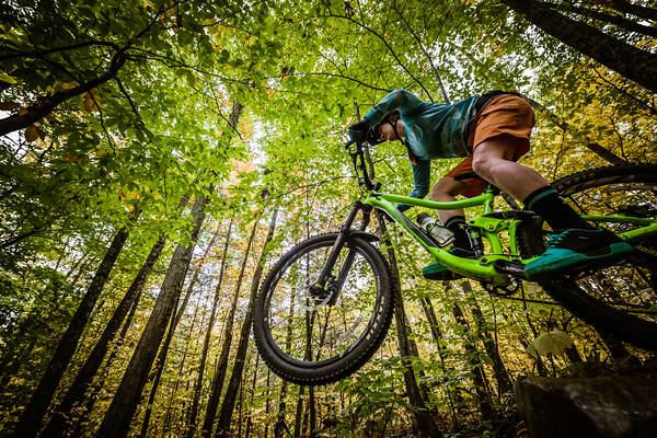 Mountain biking in Pine Hill Park, Rutland, Vermont on October 13, 2018.