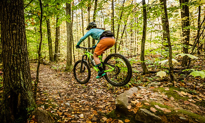 Mountain biking in Pine Hill Park, Rutland, Vermont on October 13, 2018.