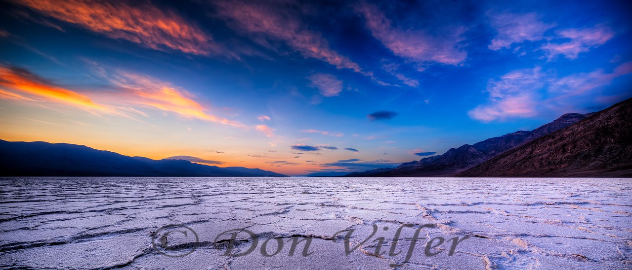 The Badwater area of Death Valley.  HDR panorama shot by shifting 17mm tilt-shift lens.