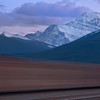 That the last minute of blue hour with a passing train at Jasper's railway station.