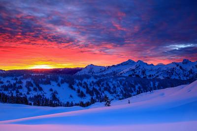 Winter Sunrise Mt. Rainier National Park, Washington