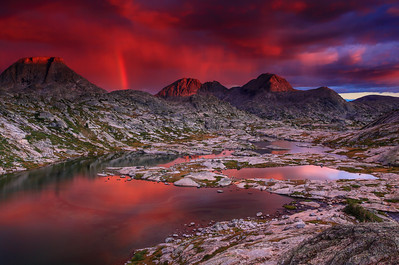 A passing rain cloud during sunset  Titcomb Basin, Wind River Range, Wyoming