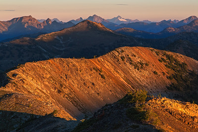 First light makes it's way across the North Cascades at Slate Peak lookout.