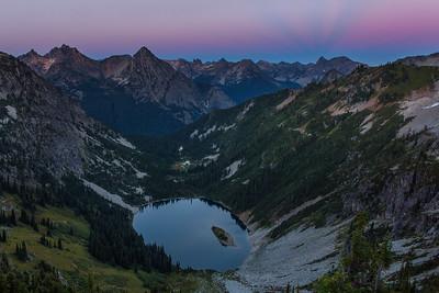 Sunset above Lake Ann (Rainy Pass) in North Cascades, Washington