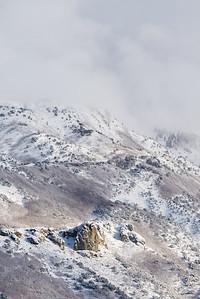 Fresh coat of snow below Lone Peak