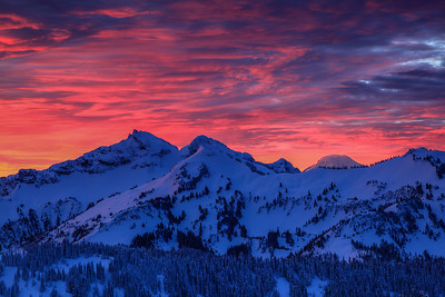 Sunrise over the Tatoosh Range and Mt. Adams Mt. Rainier National Park, Washington
