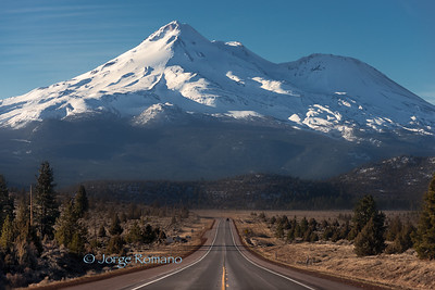 View of Mount Shasta from the road