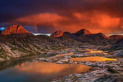 Rainbows and rainclouds at sunset Titcomb Basin, Wind River Range, Wyoming