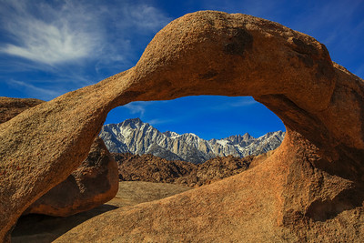 Mt. Whitney and the Sierra Mountains from Mobius Arch Alabama Hills, California