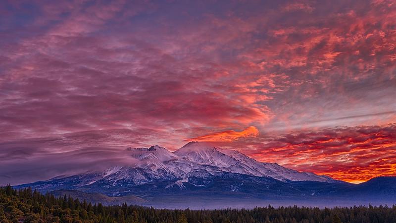 Fiery Sunrise over Mt. Shasta, 23-November-2020