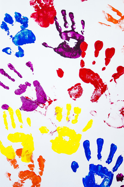 Kids' Colorful Palm Prints on Wall