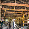 As I was leaving the blacksmith I turned around to get one more shot from the outside of the building. This is an hdr shot. I needed several exposures to capture the detail in the extreme light and dark areas. Thankfully, Photomatix has a reduce ghosts option. It will take one exposure where the subjects aren't moving and use that pic so the moving people in the final shot (3 photos combined) aren't blurry. Photomatix is very clever!
