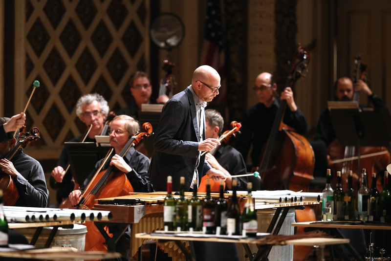 Percussion ensemble So Percussion performed a piece by New York-based composer David Lang using sticks and wine bottles as part of their set during the fourth night of the MusicNOW Festival at Music Hall on Saturday, March 14, 2015. Emily Maxwell | WCPO