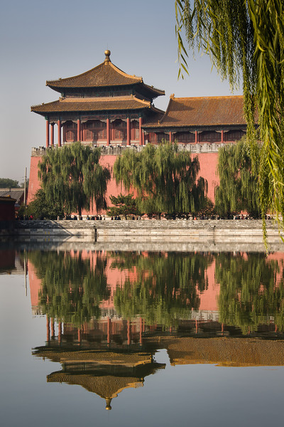 """""""Forbidden City Reflection""""<br /> The Meridian or South Gate Watchtower of the Forbidden City in Beijing, China, is seen and reflected in the moat."""