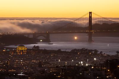 Fog rolls over the Golden Gate, San Francisco