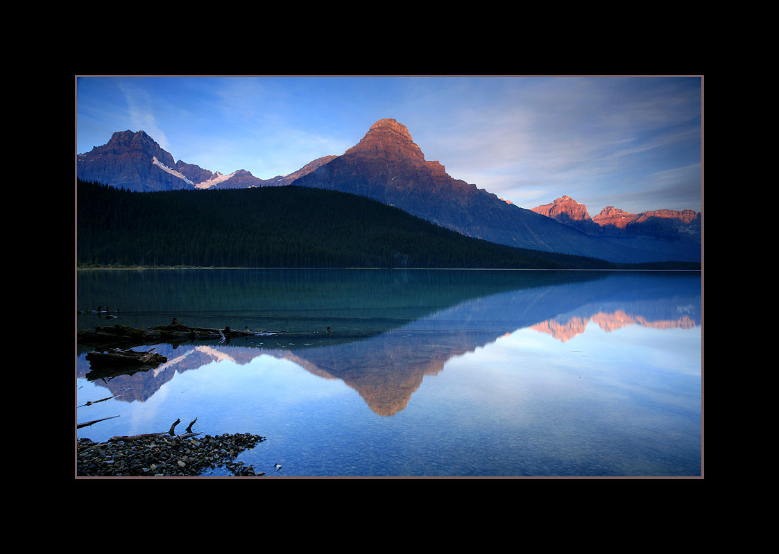 Sunrise over Lower Waterfowl Lake and Mount Chephren, Banff National Park, Alberta, Canada